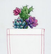 Succulent and cactusCross stitch kit for embroidery on clothing DIY