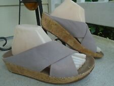Womens Fitflop cross strap leather wedges slides sandals sz 9