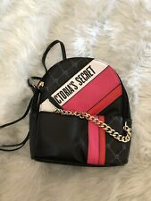 NWT Victoria's Secret Backpack Purse Small City Logo Black Red Pink Gold Chain