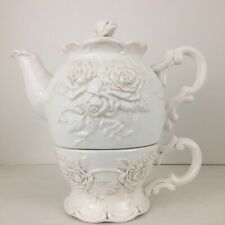 Bella Casa by Ganz Teapot & Cup Tea For One Antiqued White Raised Floral Design