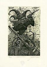 """Sebastian""   Surrealistic Ex libris Etching by Oleg Denisenko"
