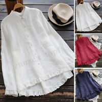 Women Long Ruffles Sleeve Casual Shirt Tops Loose Pleated Hem Button Blouse Plus