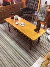 Retro Vintage Scandinavian Style Teak Coffee Table Under Stretcher Rack