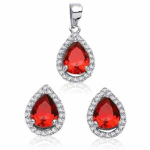 Red Garnet Drop Pear Simulated Diamond Sterling Silver Earring & Pendant Set