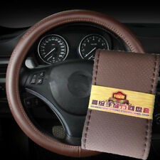 DIY Car Truck Leather Steering Wheel Cover With Needles and Thread Dark Brown UK
