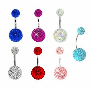 SHAMBALLA FERIDO DOUBLE DISCO BALL CRYSTAL BELLY BAR NAVEL RING SURGICAL STEEL