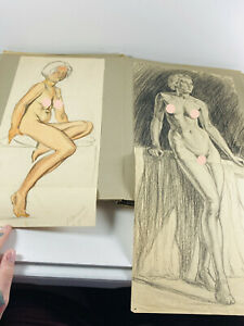 STUNNING 1930's FULL Nude Woman Pin Up Sketchbook by ALMASH 70+ drawings