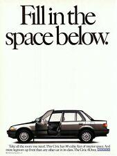 1989 Honda Civic LX Sedan EF Original Magazine Ad