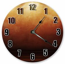 "10.5"" BROWN ORANGE ABSTRACT CLOCK Large 10.5"" Wall Clock Home Décor Clock - 3143"