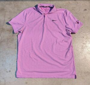 Nike Golf Aeroreact Men's XL Purple Short Sleeve Polo Shirt Embroidery Polyester