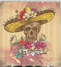 Day Of The Dead Fabric SHOWER CURTAIN Dia De Los Muertos Skull Halloween Bath