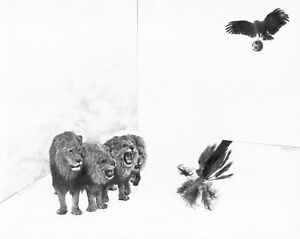 """1974 Original Pencil drawing """"Lions on Parade"""" by Michigan Artist Larry Simpson"""