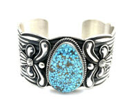 Native American Sterling Silver Navajo Spider King Turquoise Cuff Bracelet