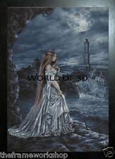 Victoria Frances Enmarcado Negro Azul Dama de Génova - 3D 365mm X 465mm imagen de culto