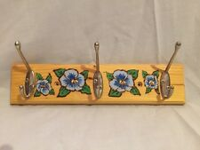 Blue Pansies Wooden Coat or Key Rack - Pyrograved/Painted/Varnished - 12 x 3 in