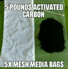 5 Bags Total 5 LBS Activated Carbon Aquarium Pond Canister Filter w/ Mesh Bags