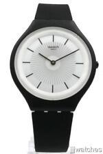 New Swatch SKINNOIR Matte Black Silicone Skin Watch 40mm SVUB100 $120
