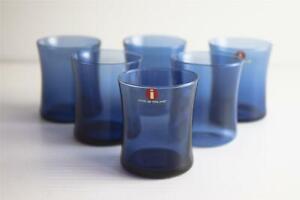 Set of 6 IITTALA Finland Rain Blue Shot Glasses 5.1cm high RARE Smokey Blue MCM