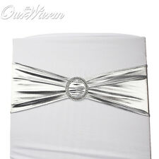 50pcs Wedding Stretch Polyester Chair Cover Sashes Bow Band + Buckle DIY Decor