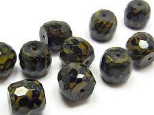 Böhmische Glasschliffperlen, Zylinder, 12 mm, schwarz  Picasso, 5 Stück; *2718