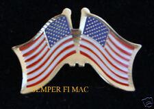 DUAL USA UNITED STATES US FLAG HAT LAPEL Friendship PIN OLD GLORY PATRIOTIC VET