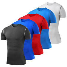 Mens Compression Shirt Short Sleeve Top Base Layer Tights Gym Workout Clothes