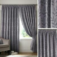 Grey Lined Curtains Jacquard Leaf Tape Top Ready Made Pencil Pleat Curtain Pairs