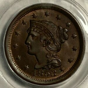 1853 PCGS MS 64 BN Braided Hair US Large Cent 1C