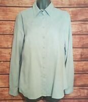 M&S Size 12 Shirt POWDER BLUE Brushed EMBROIDERED Blouse Top VGC Women's Ladies