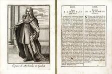 Incisione antica originale Cavaliere di San michele in Francia  1711