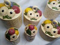 Vintage 70's Basket Weave Canisters Set 4 Salt Pepper Shakers Fruit In Basket