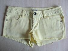 MUDD Juniors Sz 11 STRETCH DENIM Short Cutoff Fray Jean SHORTS Lemon Yellow EUC!