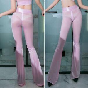 Women/Lady Zipper Crotch Flared Trousers See Through Sheer Skinny Pants Clubwear