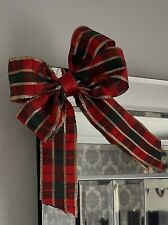 1 Red Green & Gold Tartan Double Bow Xmas Tree Decoration Garland Mirror 14x16Cm