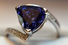 5 Ct. PREMIUM AAA TANZANITE &12 VVS DIAMOND STATEMENT GYPSY RING 14K GOLD FILL 7