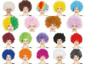 Fancy Dress Up Costume Party Afro Wig Curly Cosplay Funk Disco Halloween Clown