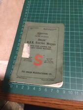 VINTAGE SINGER B.R.K Electric MOTORS Original Sewing Machine Instruction Manual.