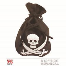 Pirate Pouch Skull & Crossbones Treasure Loot Bag Pirate Fancy Dress Accessory