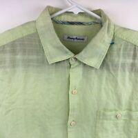 Tommy Bahama Mens Long Sleeve Linen Light Green Yellow Button Up Shirt Large