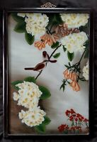 "Antique Chinese reverse painting on glass ""Birds of Paradise"" circa 1800's"