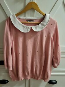 Nicolette Mason for ModCloth Femme Finesse sweater top pink peter pan collar 2X