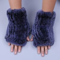 Real Rex Rabbit Fur Women's Gloves Mittens Girl Fingerless Wrist Warmer Elastic