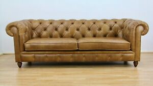 John Lewis Chesterfield Grand 4 Seater Leather Sofa, Riders Nut