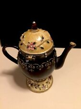 Cloisonne Enamel Teapot Trinket Music Box Black And Cream Beige