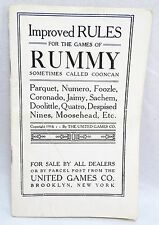 RARE ORIGINAL 1916 UNITED GAMES COMPANY IMPROVED RULES FOR THE GAMES OF RUMMY