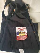 Round House Bib Overalls Mens Denim Jean Size 44X34 Carpenter Coverall Black USA