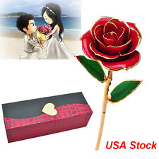 "11""Long Stem Dipped 24K Gold Foil Trim Real Rose Forever Flower Valentine's Gift"