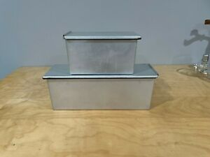 2 (Two) Sets of Metal Square Bread Molds With Lids Baking Pan Japanese Style L&S