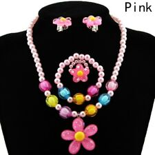 Kids Baby 4 Pc/Set Necklace Bracelet Ring Ear Clips Jewelry Girls Accessory Gift