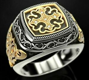 Solid 925 Sterling Silver Multi Color Rhodium Plated Onyx & Patterns Men's Ring